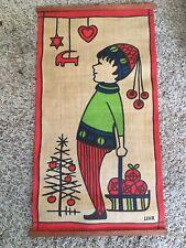"Vintage UHR Christmas Hanukah Burlap Wall Hanging Boy Tree 23.5"" Tall"