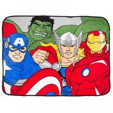 MARVEL AVENGERS ASSEMBLE FORCE CORAL FLEECE BLANKET THROW IRON MAN THE HULK THOR