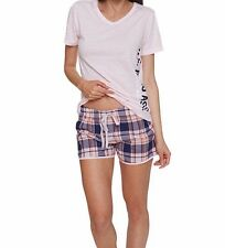 US Polo Assn Women's 2 Piece Pink V-Neck Short Sleeve Shirt and Short Pajama Set