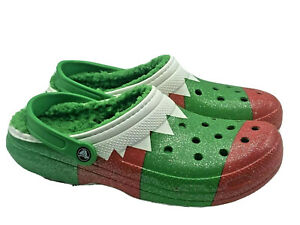 Crocs Classic Lined Holiday Christmas Clogs Men's Size 13 Red Green White New!