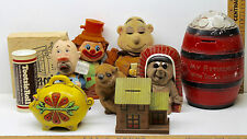 9 Vintage Coin Banks Piggy Monk Hobo Tootsie Roll Chipmunk Barrel Indian Clown +