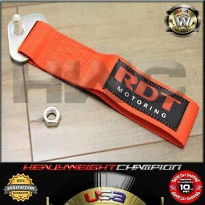 JDM Red Lumina Bolt-On Nylon Towing Belt Strap Bumper Tow Hook Adapter