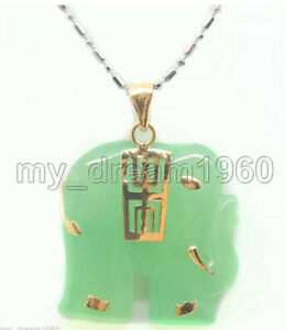 green jade elephant Jewellery necklace Pendant earring Set Beautiful