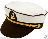 MENS WOMENS ADULTS SEA MARINE PEAKED SAILOR CAPTAIN HAT FANCY DRESS ACCESSORY