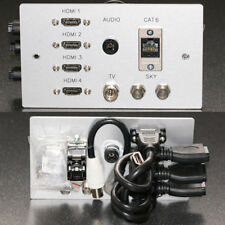 Metal AV Wall plate / Faceplate, 4x HDMI / Optical Audio / Cat6 / TV & 2x F-type