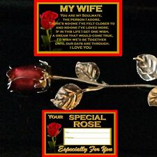 MY WIFE VERSE RED ROSE ENAMEL SILVER METAL LEAVES I LOVE YOU GIFT ANNIVERSARY
