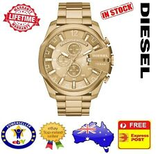 DIESEL DZ4360 Mega Chief All Gold Tone Mens Watch Stainless Steel Chrono