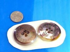 """LOT SALE 2 VICTORIAN HAND MADE CARVED ABALONE SHELL 1 1/4"""" BUTTONS"""