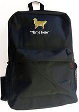 GOLDEN RETRIEVER Dog and Personal Name Embroidered Monogrammed Stitched Backpack