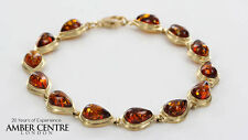 ITALIAN MADE COGNAC COLOUR BALTIC AMBER BRACELET IN 9CT GOLD-GBR025 RRP£700!!!