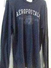 MENS AEROPOSTALE Long Sleeve Navy Shirt Size L 100% Cotton