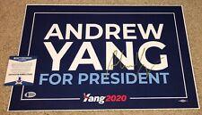 ANDREW YANG SIGNED CAMPAIGN POSTER 2020 PRESIDENT DEMOCRATS YANG GANG MATH BAS A