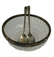 """Italy Crystal Glass 8 3/8"""" Bowl with Silverplated Rim 9.5"""" Salad Spoon and Fork"""