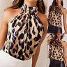 Women Sleeveless Leopard Turtleneck Blouse T-Shirt Vest Tank Top Camisole Casaul