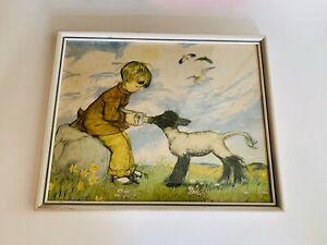 Vintage Original Print, Helping Hand, By Muriel Dawson, A.R.C.A., Framed, Lamb