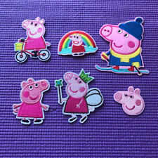 6 pieces mix peppa pig Cartoon embroidery patch SEW on/IRON on NEW  3