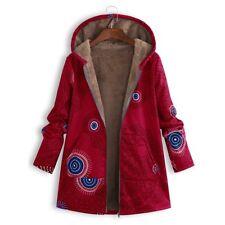 Women Lined Hooded Coats Fleece Floral Printing Jackets Outwear Winter Parka Hot