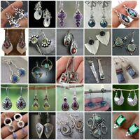 Vintage Women 925 Silver Ear Hook Stud Dangle Drop Moonstone Emerald Earrings