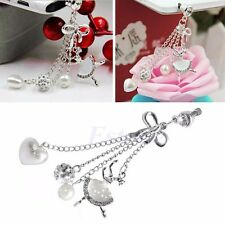 3.5mm Bling Bow Chain Anti Dust Earphone Plug Stopper Cap Cover For iPhone Phone