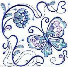 Ten Machine Embroidered Quilt Blocks - BUTTERFLY SQUARES ON WHITE KONA COTTON