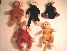 Lot of 5 Beanie Babies monkeys 4 are ty and 1 is not. All good to very good con