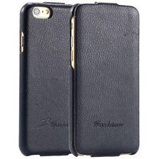Apple iPhone 7 Schutzhülle  Leder Fa Schwarz Tasche Flip Klapp Cover Luxus Case