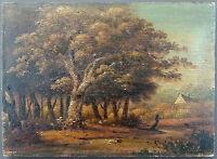 """Ancien Tableau """"Paysage à La Campagne"""" Peinture Huile Antique Oil Painting"""