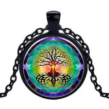 Wholesale Cabochon Glass Black  Chain Pendant Necklace ,The Tree of Life /123