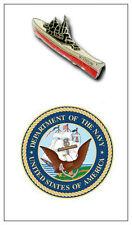 USS New Jersey BB 62 Battleship Fleet Task Group Okinawa 16 inch Guns Pin Tac US