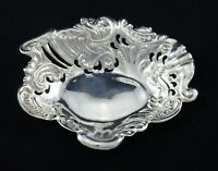 VINTAGE ART NOUVEAU FLORAL ORNATE RING TRINKET SEWING DISH PIERCED SILVER PLATED