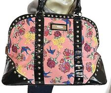 Betsey Johnson Dome Weekender Bag Birds Flying High PlNK Tote Large Purse Coral