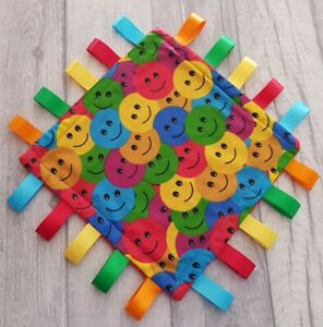 "Taggy Blanket 8"" Emoji Smiley Faces Blanket Fidget Activity Toy Sensory Blanket"