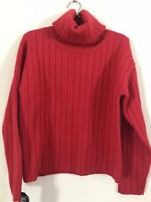 DKNY Red Ribbed 100% Wool Roll Neck / Polo Neck Sweater, BNWT
