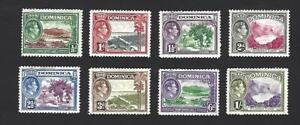 DOMINICA 1938 GEORGE VI, 8 DIFFERENT PICTORIAL STAMPS TO 1/-, MH