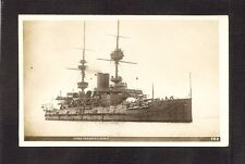 REAL-PHOTO POSTCARD: H.M.S. MAGNIFICENT - BRITISH ROYAL NAVY PRE-WW-1 BATTLESHIP