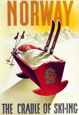 Arte cartel Noruega cuna de esquí impresión de viaje