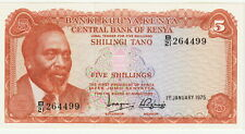 "Kenya 5 Shillings Banknote 1.1.1975 Uncirculated Condition,Pick#11-B""President"""
