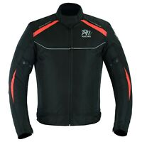 Men Red Motorcycle Waterproof Cordura Textile Jacket Motorbike CE Armour
