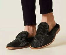 d2a9c645d01 Free People Butterfly Effect Faux Fur Black Velvet Loafers Mule Size 38  New!  98