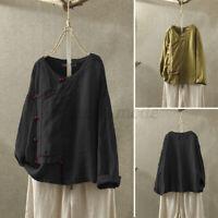 ZANZEA Women Casual Retro Solid Crew Neck Tee Shirt Tops Long Sleeve Blouse Plus