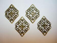 Oxidized Brass Victorian Filigree Earring Findings Drops Dangles - 4