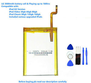 LG 3000mAh Battery Upgrade replacement for iPod Classic 6 6.5 7 Video 5 5.5 Thin