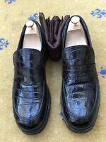 Gucci Mens Shoes Black Leather Loafers UK 10 US 11 EU 44 Croc 358273