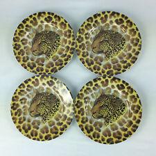 Cheetah Salad Plates Email de Limoges Wild Life Lot of 4 Fiorilli