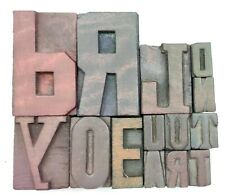Letterpress Letter Wood Type Printers Block Lot Of 14 Typography Eb 65
