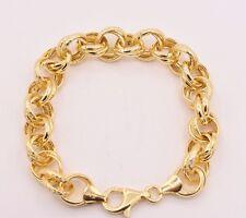 "Twisted Diamond Cut Rolo Bracelet 14K Yellow Gold Clad 925 Sterling Silver 7.5"""