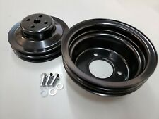 SBF Small Block Ford 2 Groove Black Steel Pulley Kit 3 Bolt Crank 1964.5 66 V8