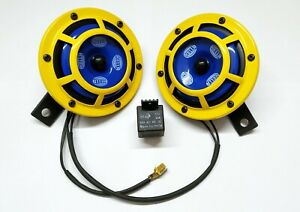 HELLA YELLOW PANTHER 12V SHARP TONE DUAL HORNS, RELAY & WIRE CAR BIKES WILLYS