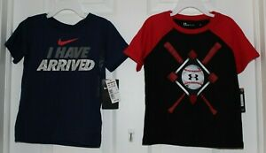 (2)BOY'S SZ 4 SS TEE SHIRTS-1 by NIKE, 1 by UNDER ARMOUR-NEW WITH TAGS