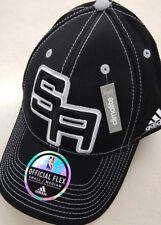 SAN ANTONIO SPURS NBA ADIDAS OFFICIAL ON COURT HAT CAP BLACK  FLEX FIT L/XL  $28